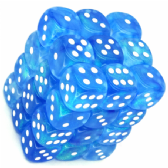 Sky Blue & White Borealis 12mm D6 Dice Block